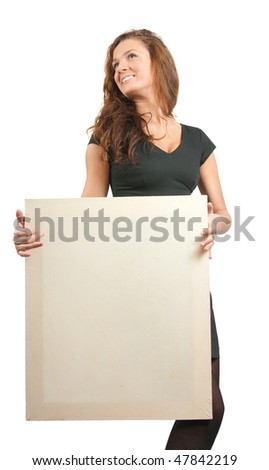 long-haired girl holds an empty poster. Isolated on white