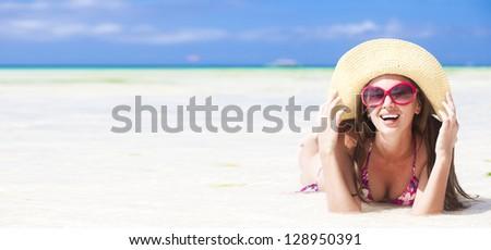long haired girl in bikini on tropical boracay beach - stock photo