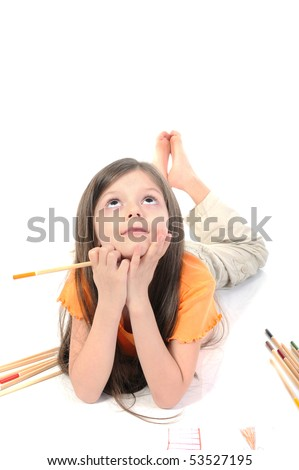Long-haired Girl with pencil in hand. Isolated on white background - stock photo