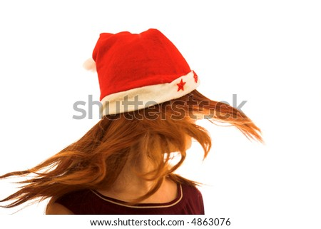 long haired  girl with Santa's hat on white background