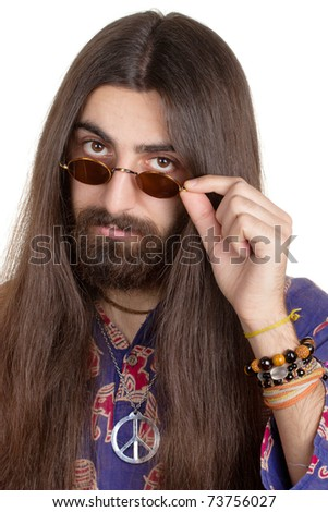 Long-haired hippie man with the glasses - stock photo