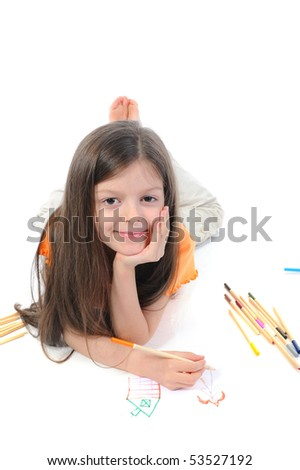 Long-haired little girl draws a princess. Isolated on white background - stock photo