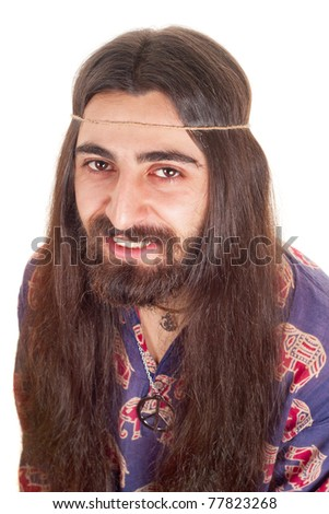 Long-haired smiling hippie man - stock photo