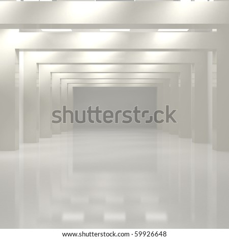 Long Hall With Columns - 3d illustration - stock photo