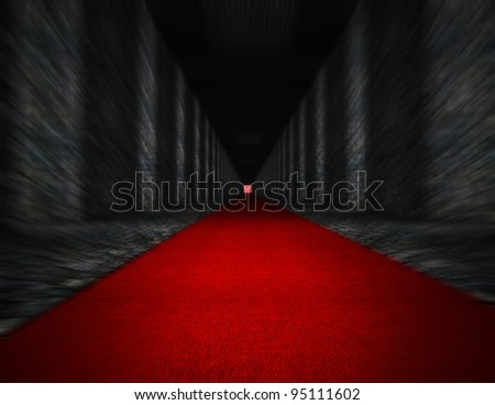 Long hall with red carpet. - stock photo
