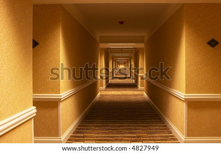 Long hallway in american hotel - stock photo