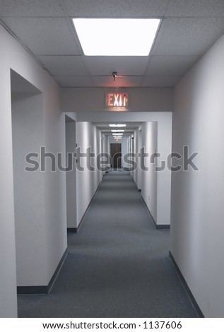 Long hallway in office - stock photo