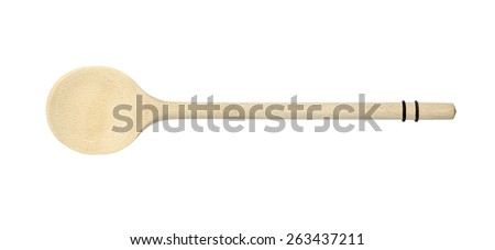 Long Handle Cooking Mixing Wooden Spoon isolated on white background - stock photo