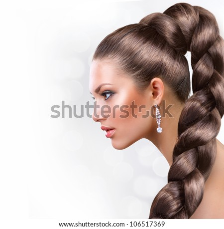 Long Healthy Hair. Beautiful Woman Portrait with Long Brown Hair - stock photo