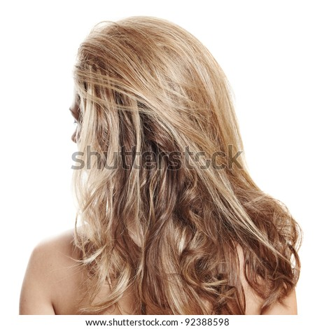 long healthy loose blond hair styled with volume - view from the back on white background