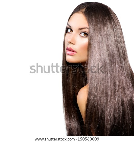 Long Healthy Straight Hair. Beauty Woman with Very Long Shiny Smooth Brown Hair. Model Brunette Girl Portrait isolated on a white background. Gorgeous Hair  - stock photo