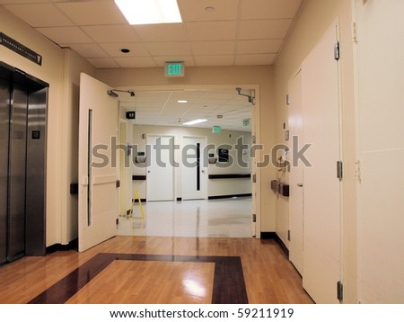Long Hospital Hallway and entrance - stock photo