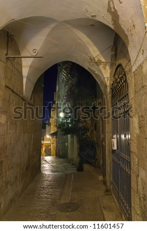 Long in the narrow streets of the Old City of Jerusalem. - stock photo