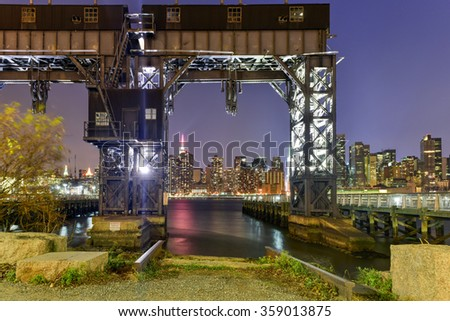 Long Island City, New York - January 2, 2016: Pier of Long Island near Gantry Plaza State Park - borough of Queens - New York City. - stock photo