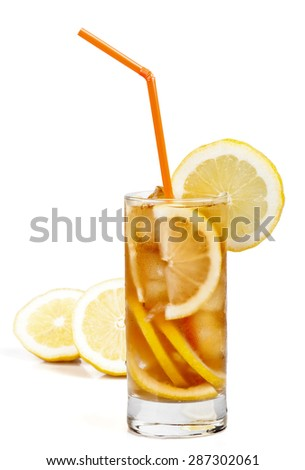 Long island ice tea cocktail isolated on white background