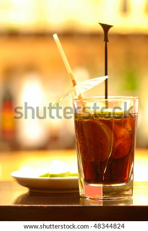 Long Island Ice Tea drink with vodka, gin, rum, tequila and cola