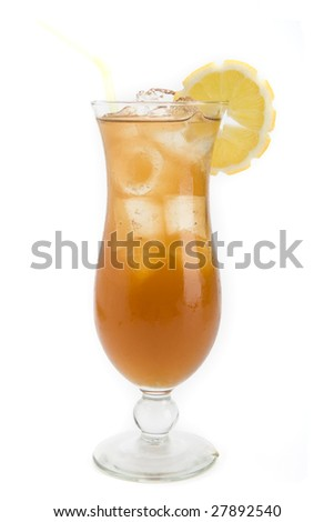 Long Island iced tea  cocktail on a white background - stock photo