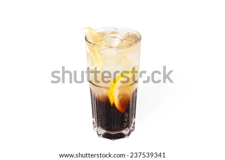 Long island iced tea cocktail with ice isolated on white background
