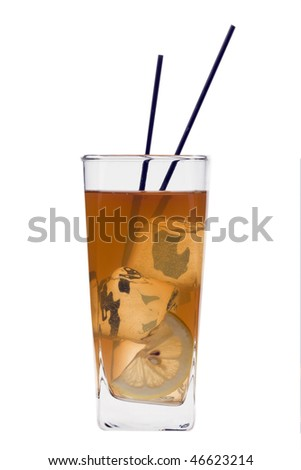 Long Island Iced Tea mixed drink on a white background - stock photo