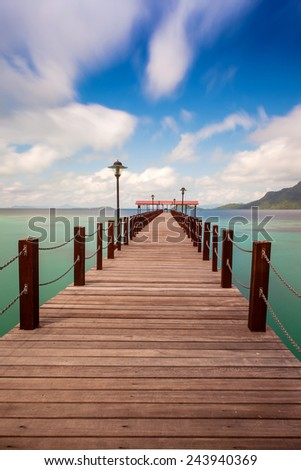 Long jetty, accessible to tourists who come to enjoy the beauty of an island - stock photo