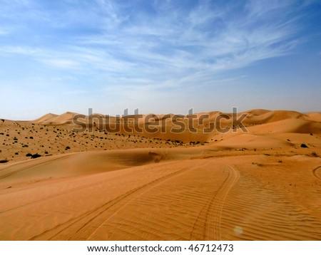 Long Journey into the Desert - stock photo