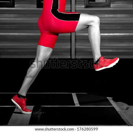 long jump athlete training indoor - stock photo