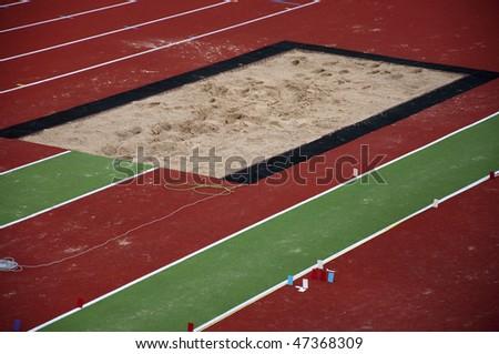 Long jump sand box - stock photo