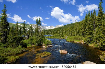 Long Lake at Indian Peaks Wilderness near Boulder Colorado - stock photo