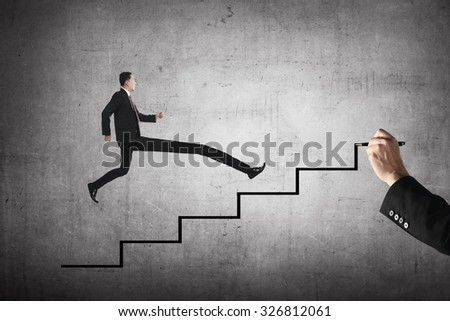 Long leg business person jump to the highest stair. Business achievement concept