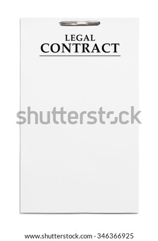 Long Legal Contract with Copy Space Isolated on White Background.