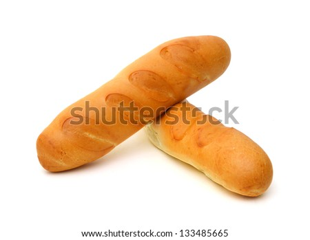long loaf breads isolated on white background