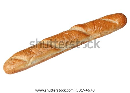 Long loaf crusty french baguette isolated on white - stock photo