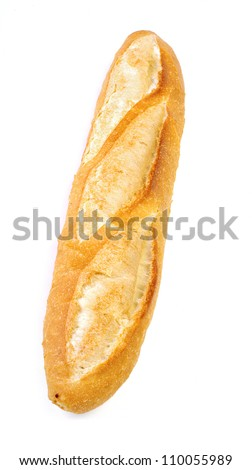 long loaf isolated on white background - stock photo
