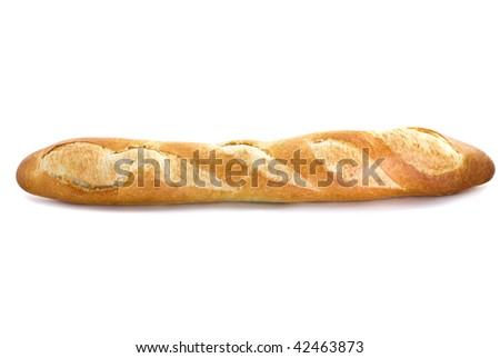long loaf isolated on white background - stock photo