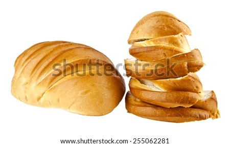long loaf of bread isolated on a white background