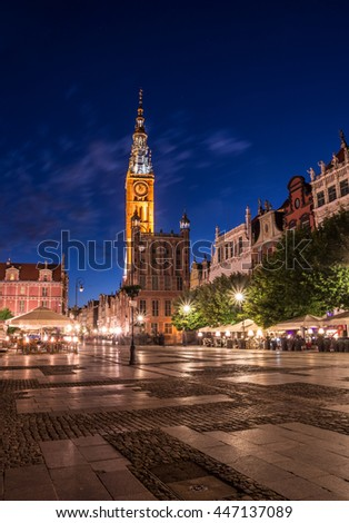Long market and town hall of the old city, Gdansk, Poland - stock photo