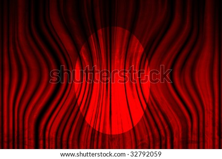 Long movie or theater curtain with dark shades and spotlight