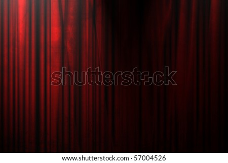 Long movie or theater curtain with dark shades on it - stock photo