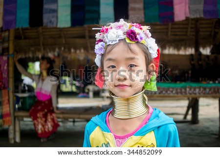 Long neck hill tribe woman in Asia with their real fashion and dressing  28/Nov/2015 at The hill tribe village in Thailand)