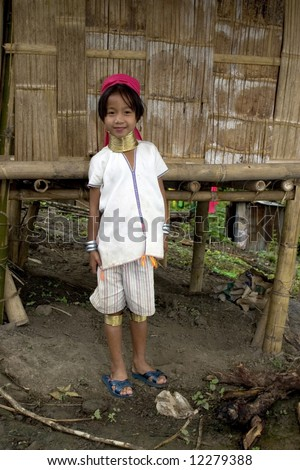 Long necked child, Asia - stock photo