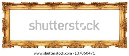 Exceptional Long Old Golden Frame Isolated On White. Beautiful Vintage Background