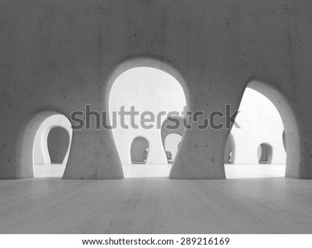 Long passage. illustration. 3D rendering white room - stock photo