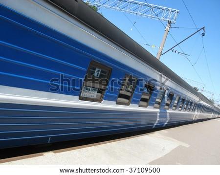 Long passenger train in Balti-Jaam Tallinn Estonia. - stock photo