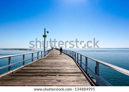 Long Pier at Hervey Bay, Queensland , Australia - stock photo