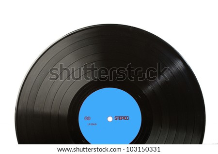 Long play disk with blank label in blue. Label designed by myself - stock photo