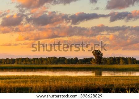 Long Point sunrise over a reedy marsh. - stock photo