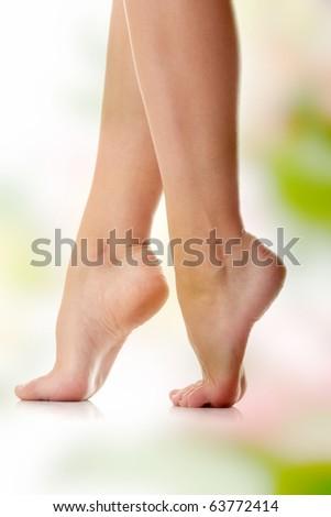 Long pretty woman legs - stock photo