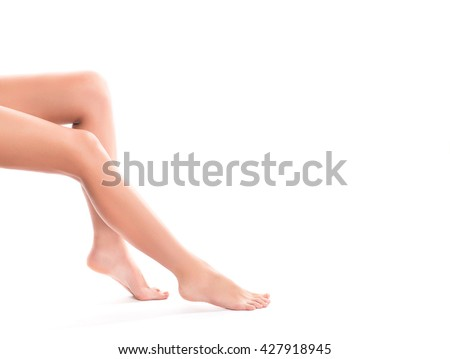 Long pretty woman legs isolated on white background, copy-space. - stock photo