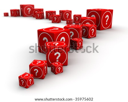 Long queue of big and small question mark cube box 3d illustration - stock photo