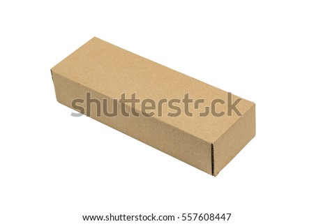 closed white cardboard box. long rectangle closed brown cardboard box packaging blank template in isolated on white background a